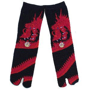 Sparkle Eye Dragon Tabi Socks - Red