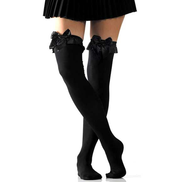 Pretty Bow Black Opaque Thigh Highs