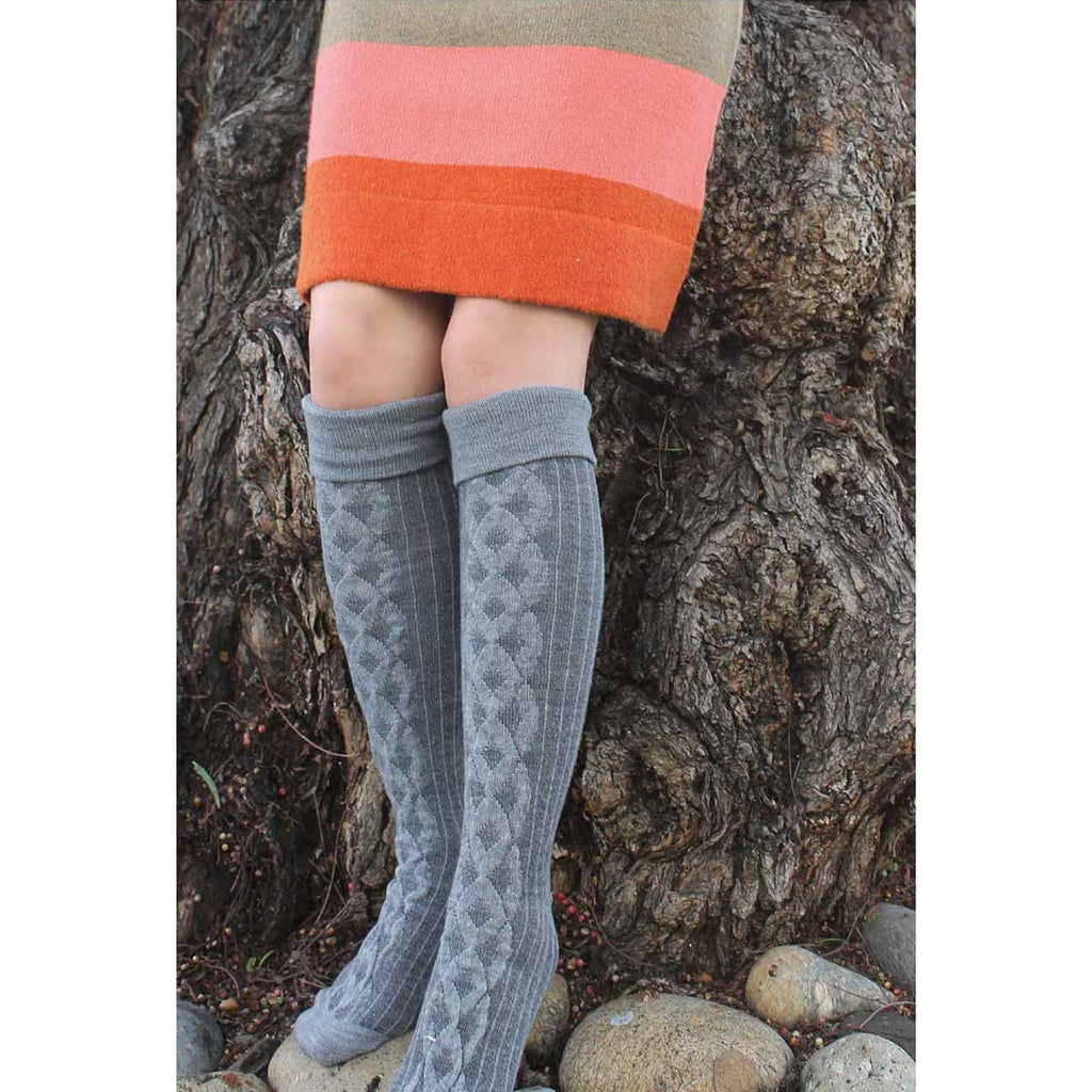 Grey Cuffed Cable Knee High Socks