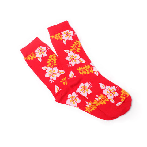 Hawaiian Flower Crew Socks