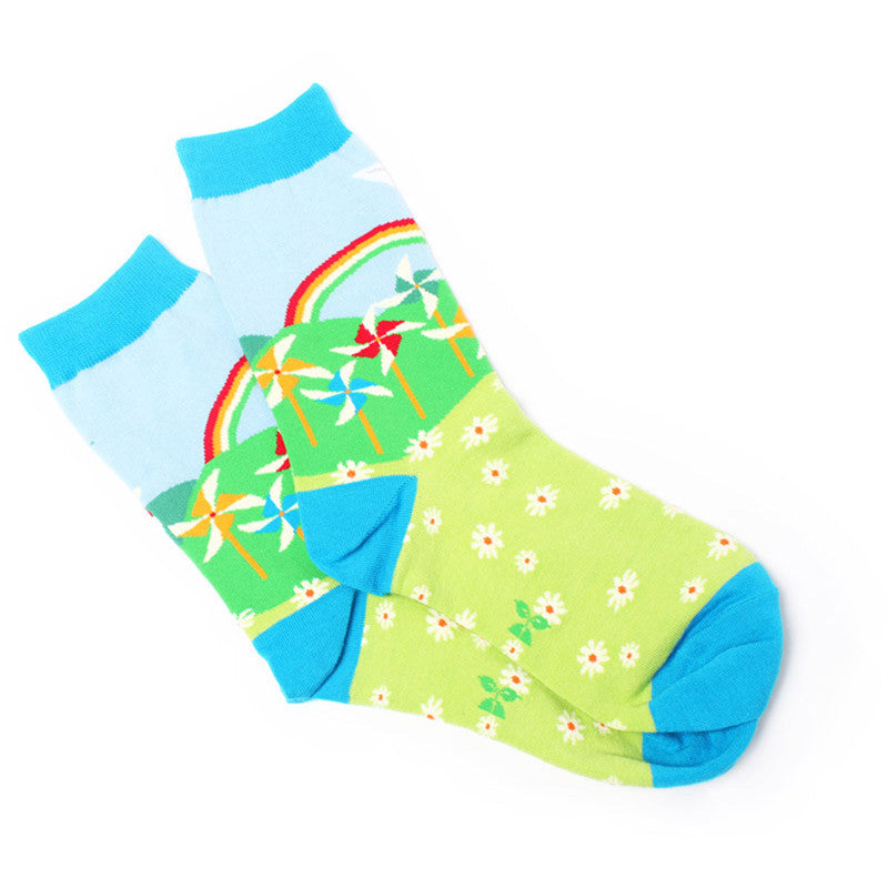 Rainbow Garden Crew Socks