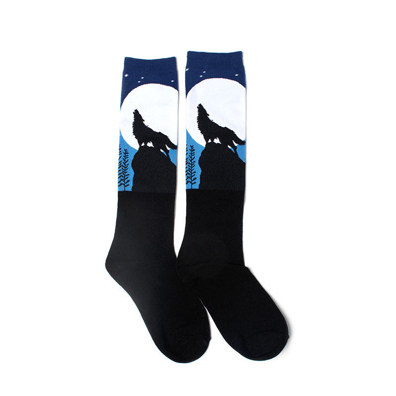 Howling Wolf on a Bright Moonlit Night Knee High Socks