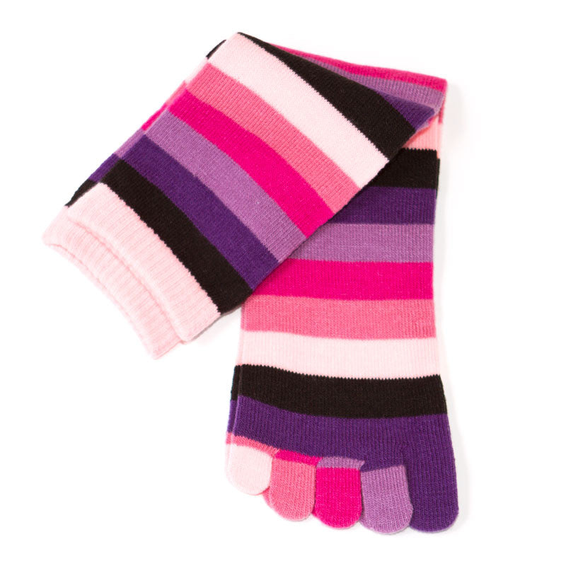 Pink Striped Knee High Toesocks
