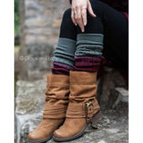 Ombré Leg Warmers (Wine and Grey)