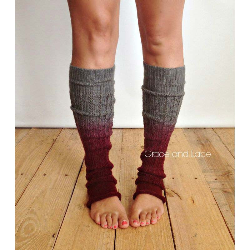 Ombre Leg Warmers (Wine and Grey)