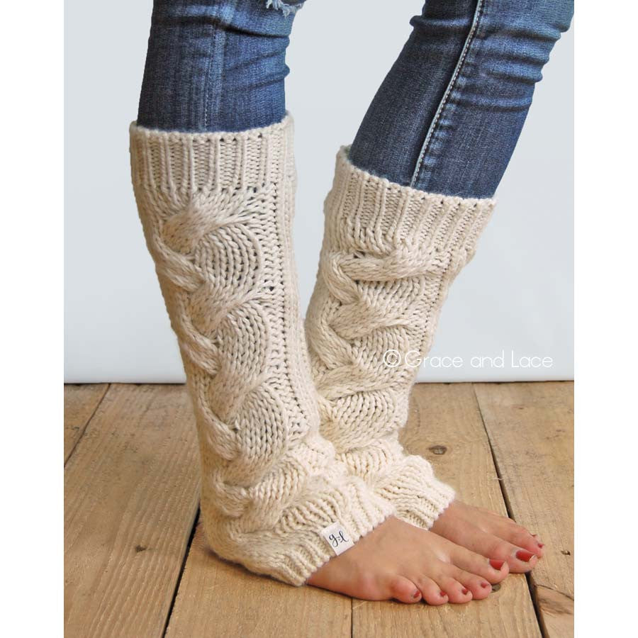 Cream Cozy Cable Knit Leg Warmers