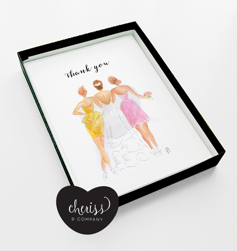 bridesmaid thank you note card fair skin