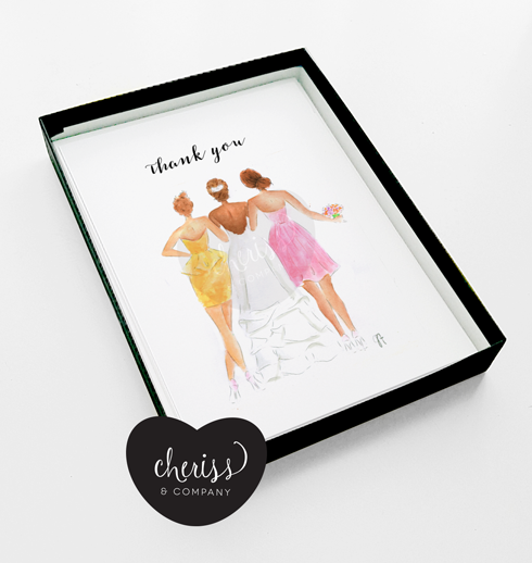 bridesmaid thank you note card brown tone