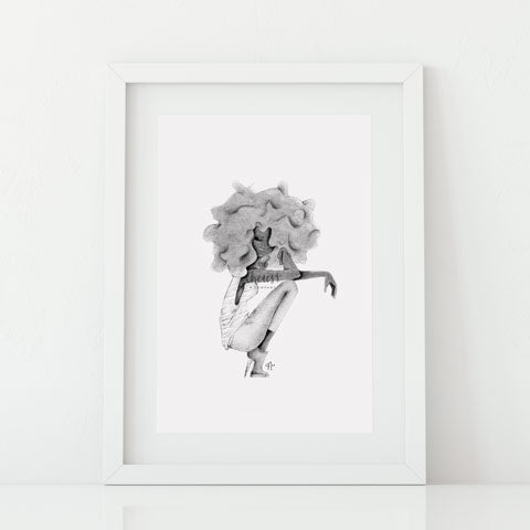 Black & White FroGirl Art Print
