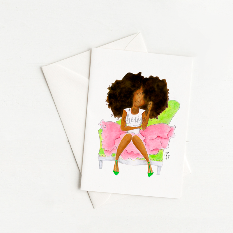 Pink & Green FroGirl Everyday Card