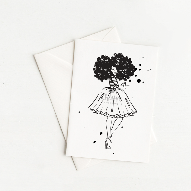 black and white frogirl notecard