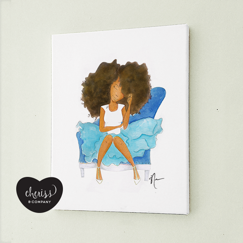 White & Blue FroGirl Art Print