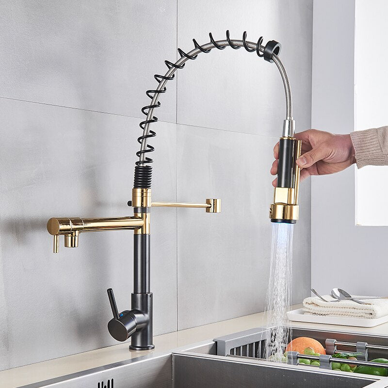 Dual Spout Pull Out Spring Faucet with LED