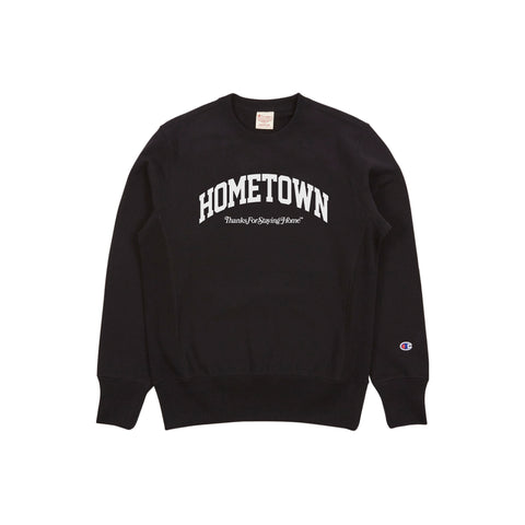 """HOMETOWN"" ThanksForStayingHome ™ <br> Champion Crewneck (BLACK)"