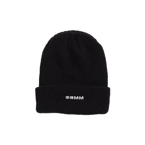 ©8MM Ribbed Beanie - Black