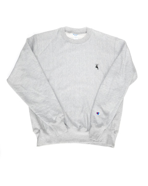 8MM FINGER HEART x CHAMPION CREW NECK SWEATSHIRT (GREY)