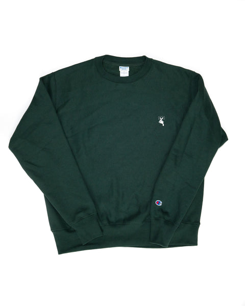 8MM FINGER HEART x CHAMPION CREW NECK SWEATSHIRT (GREEN)