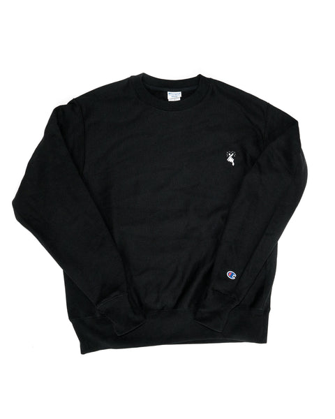8MM FINGER HEART x CHAMPION CREW NECK SWEATSHIRT (BLACK)
