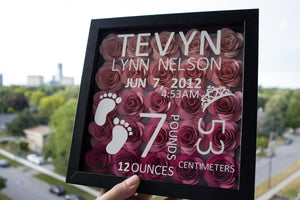 Personalized shadow box for newborn baby featuring florals and baby's information