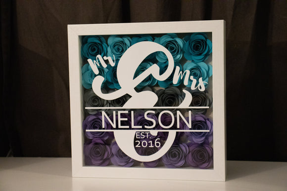 9x9 Mr & Mrs Wedding Paper Flower Shadow Box