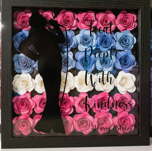 Harry Styles Inspired - Treat People with kindness  9x9 Paper Flower Shadow Box