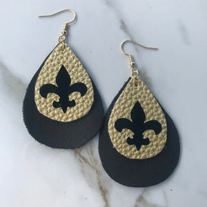 Fleur de Lis 2-Layer Teardrop Earrings