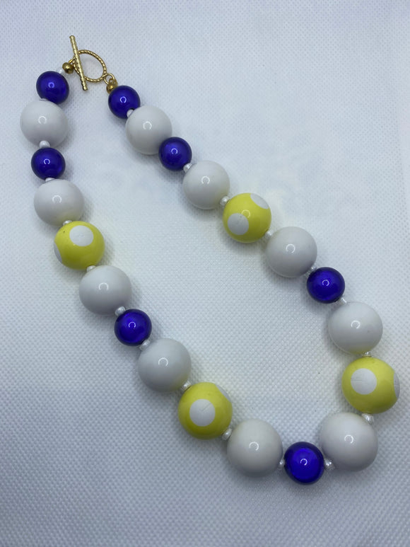 Deep Purple and Yellow Dot Bubblegum Necklace
