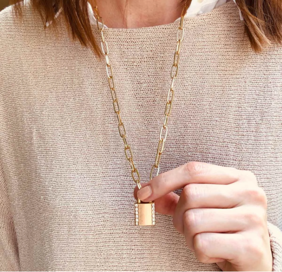 Gold Eliana Paper Padlock Necklace