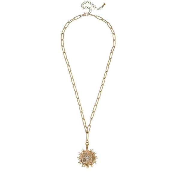 Gold Sunburst Paperclip Chain Necklace