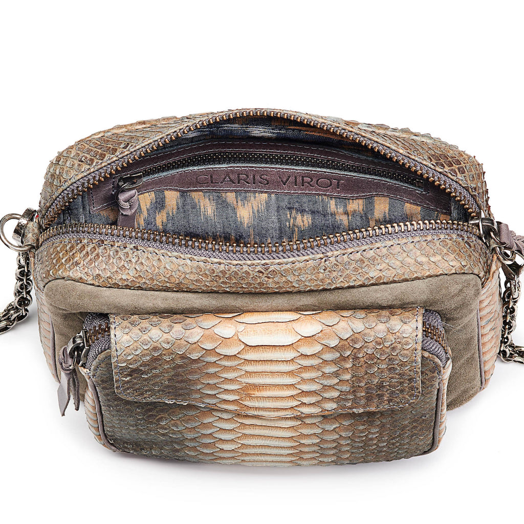 Charly bag python & suede greige
