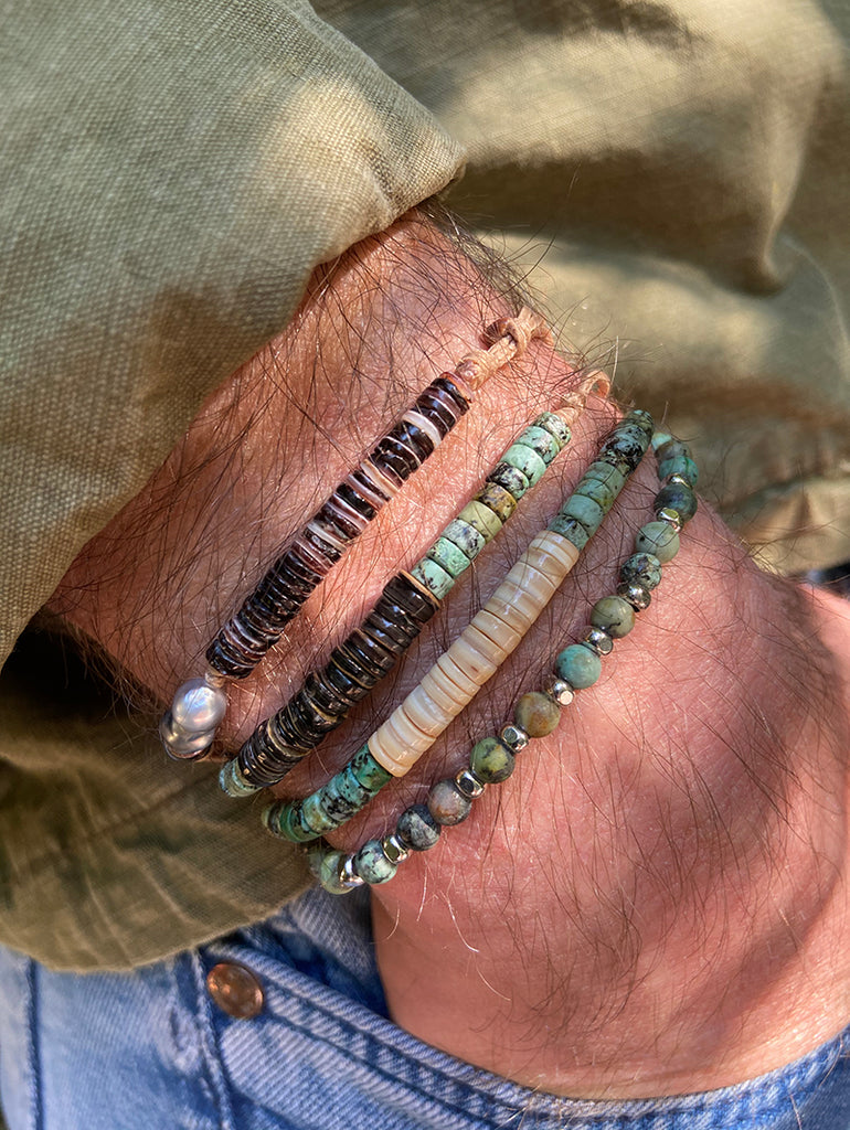 Men's turquoise mother-of-pearl bracelet