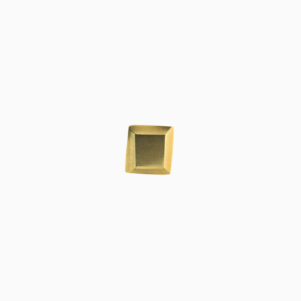 Square brass and sterling silver earring (single)