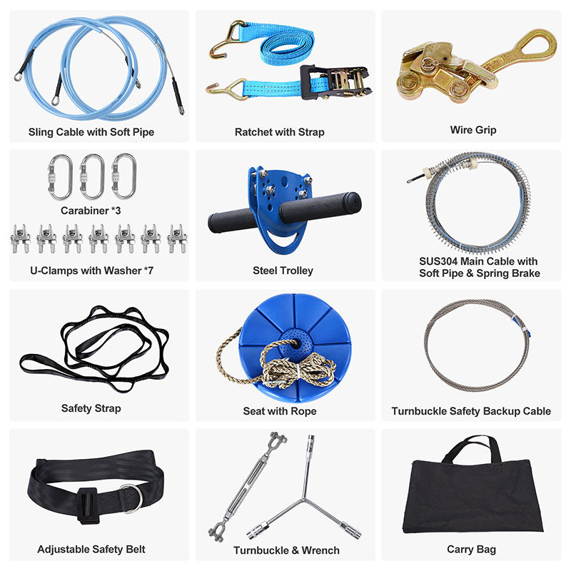 kids zipline kit with accessories