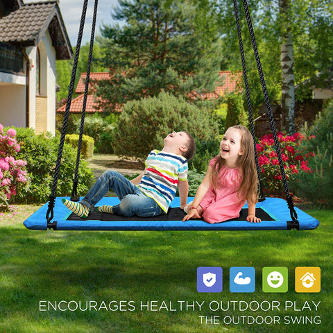 KloKick 60 Inch 700LB Weight Capacity Indoor Outdoor Platform Swing for Adults and Kids with Durable Waterproof Material and Quick Installation Accessories Platform Swing-CR0565L KloKick