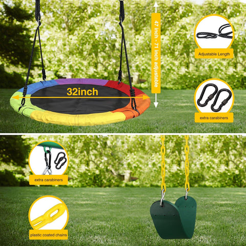Saucer Swing + EVA Swing Set With Frame - klokick