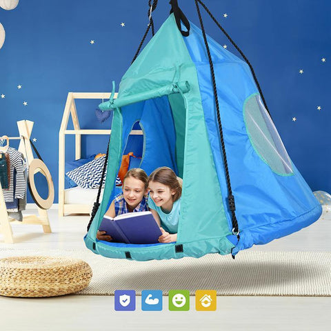 "40"" Round Saucer Swing With Tent 700lbs for Kids - klokick"
