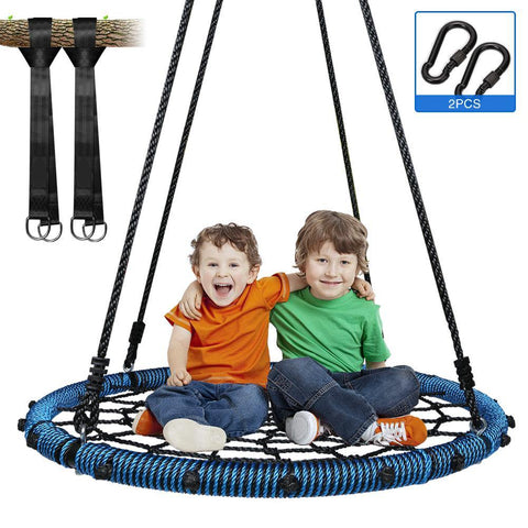 "Outdoor 40"" Saucer Chair Spider Web Tree Swing with all Accessories"
