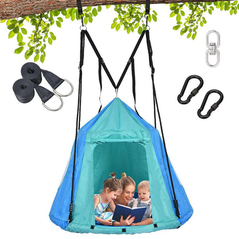 45 Inch Hanging Saucer Swing With Tent for Kids Indoor Outdoor - klokick