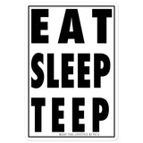 Eat Sleep Teep Muay Thai Sticker [Stacked - B & W]