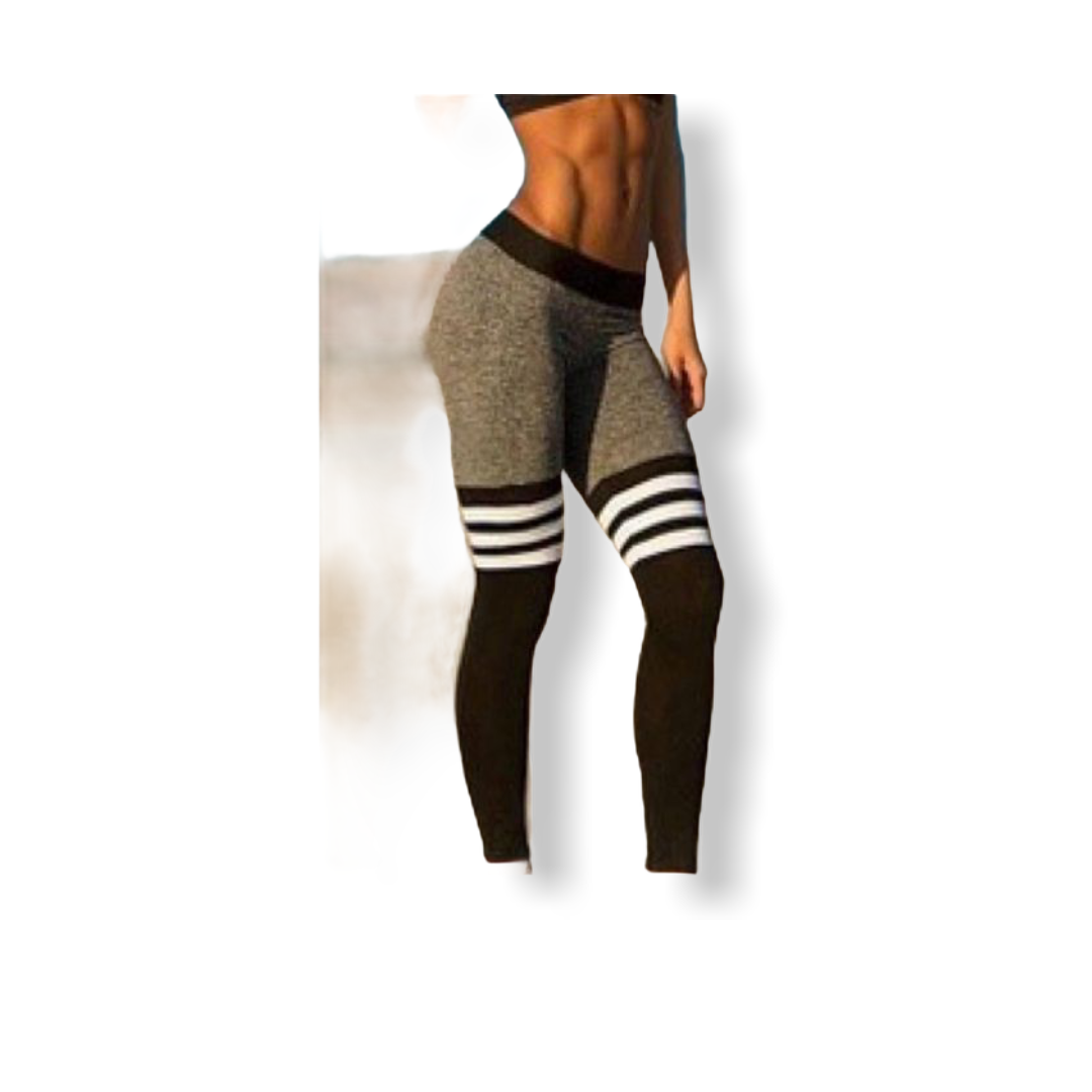 WOMENS FITNESS YOGA LEGGINGS WITH STRIPE