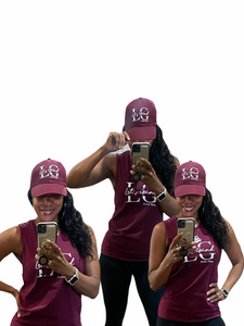 Let's Grind Maroon Women's Muscle Tank Top and Cap Set