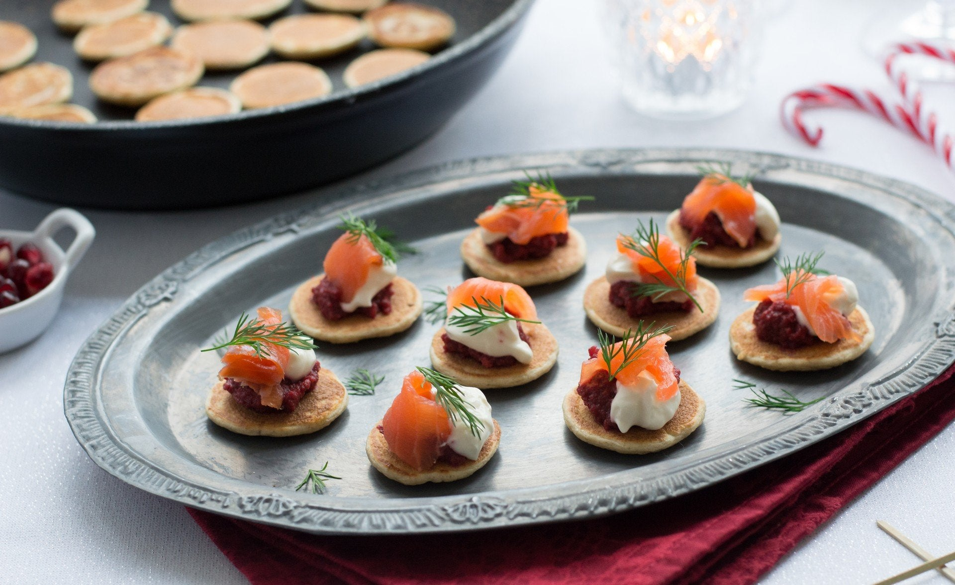 Blinis with Horseradish, Beetroot and Smoked Trout