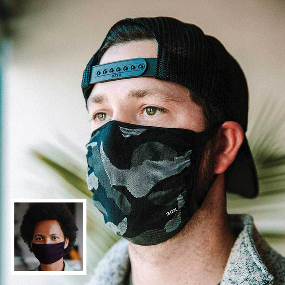 30X Mask, gray camo, ear loop mask, worn by a young man,  Split Mask Pack