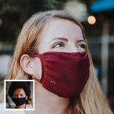 30X Mask, Sangria ear loop mask, worn by a young woman outside, Split Mask Pack