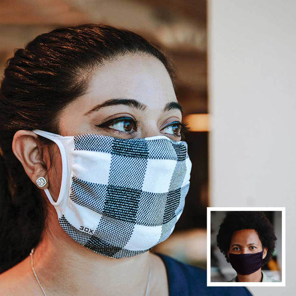 30X Mask, white buffalo plaid, ear loop mask, worn by a young woman,  Split Mask Pack