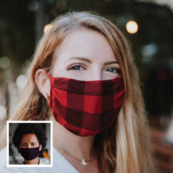 30X Mask, red buffalo plaid, ear loop mask, worn by a young woman outside,  Split Mask Pack