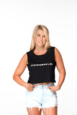 Womens Explore Life Crop Tank - Black