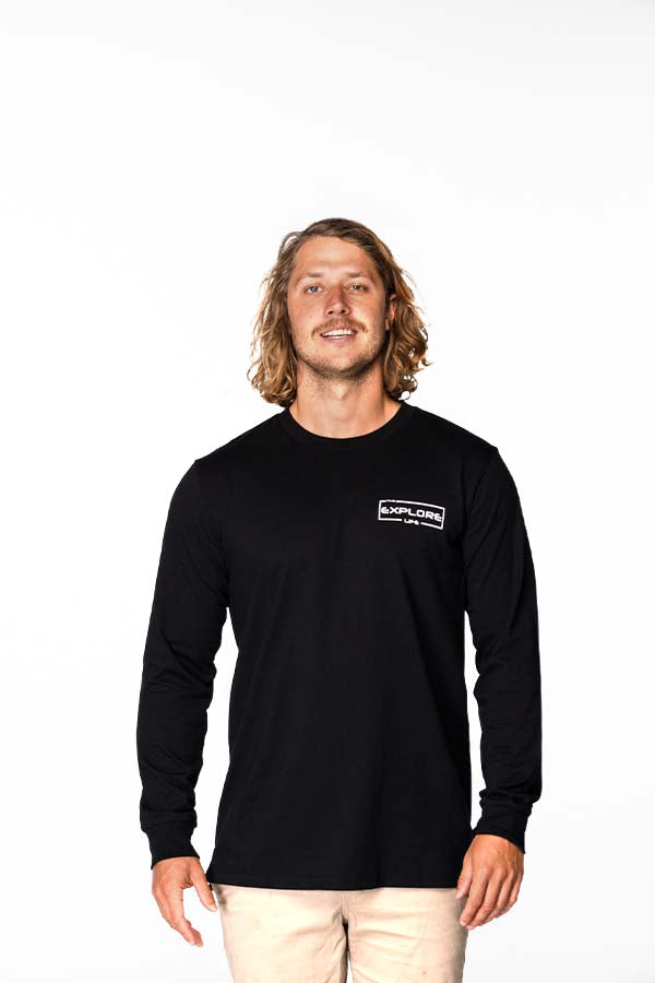 Mens Explore Life - Signature Long Sleeve Tee - Black