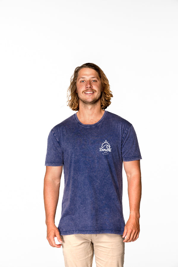 Explore Established Stone Wash Tee - Blue