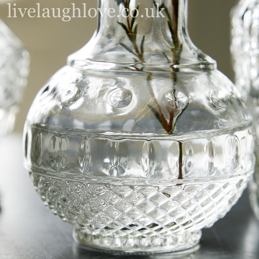 Set Of 3 Assorted Decorative Clear Glass Vases Live Laugh Love